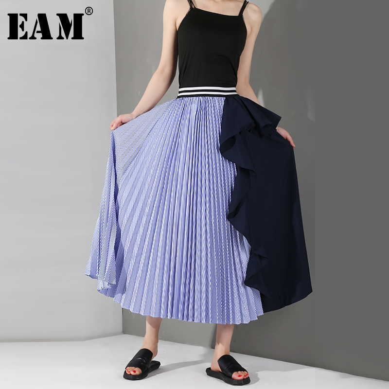 [EAM] 2020 New Spring Summer High Elastic Waist Black Striped Split Joint Ruffles Pleated Half-body Skirt Women Fashion WG1900