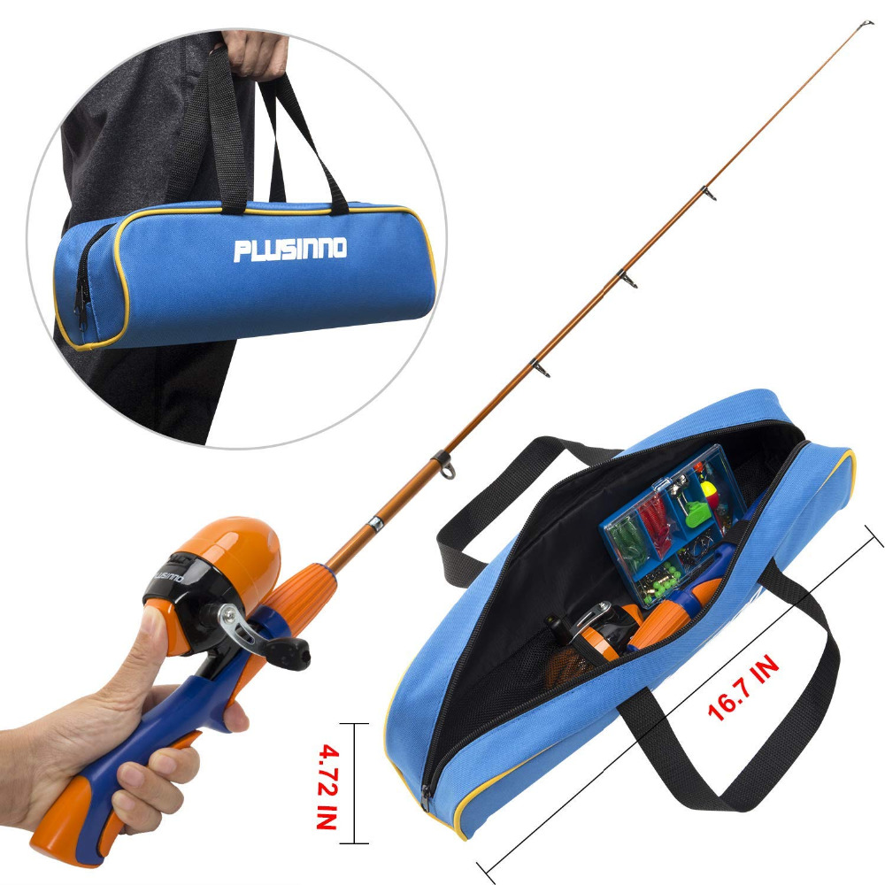 PLUSINNO Kids Fishing Pole,Portable Telescopic Fishing Rod and Reel Full Kits, Spincast Youth Fishing Pole Fishing Gear for Kids-in Fishing Rods from Sports & Entertainment    1