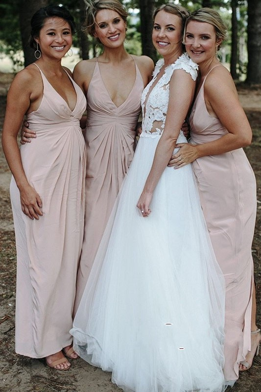 Sexy Backless Bridesmaid Dresses Long 2019 Halter Chiffon Dress Wedding Party Gown Cheap