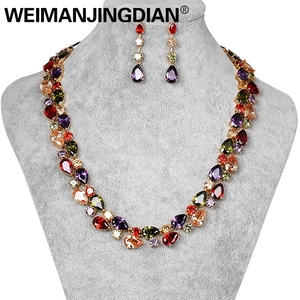 Image 1 - Beautiful Colorful Cubic Zirconia Crystal Mona Lisa Style Necklace and Earrings Jewelry Set in Gold Color Plated