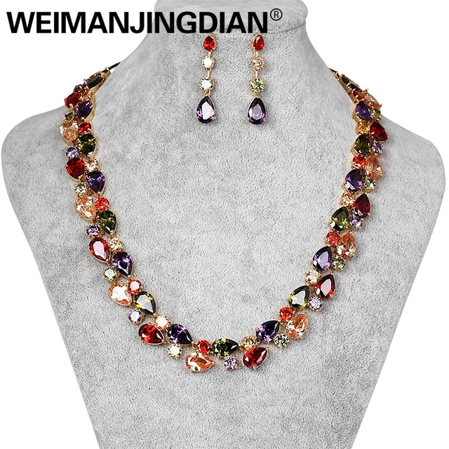 Beautiful Colorful Cubic Zirconia Crystal Mona Lisa Style Necklace and Earrings Jewelry Set in Gold Color Plated