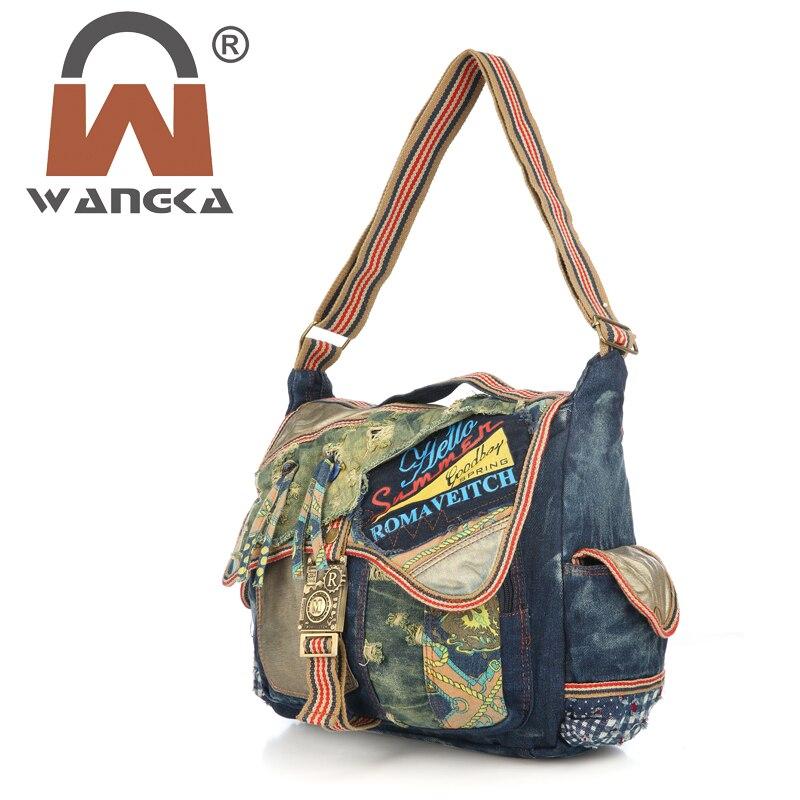 Vintage Cowboy  Shoulder Bag Casual Travel Messenger Bag Washing Tote Handbags For Women