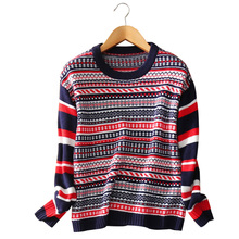 loose 100% pure cashmere thick winter sweater girl's geometric pattern pullovers long striped sleeves O-neck clothing