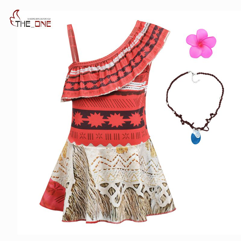 цены MUABABY Girls Moana Dress for Beach Swimming Wear Kids One Shoulder Summer Swimsuit Costume Clothing Children Fashion Swim Suit