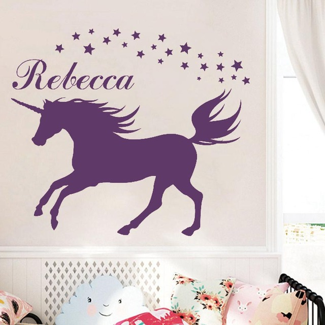 Custom Made Romantic DIY Unicorn Wall Decal Personalized Name Vinyl Wall  Stickers Magical Unicorn Vinyl Wall