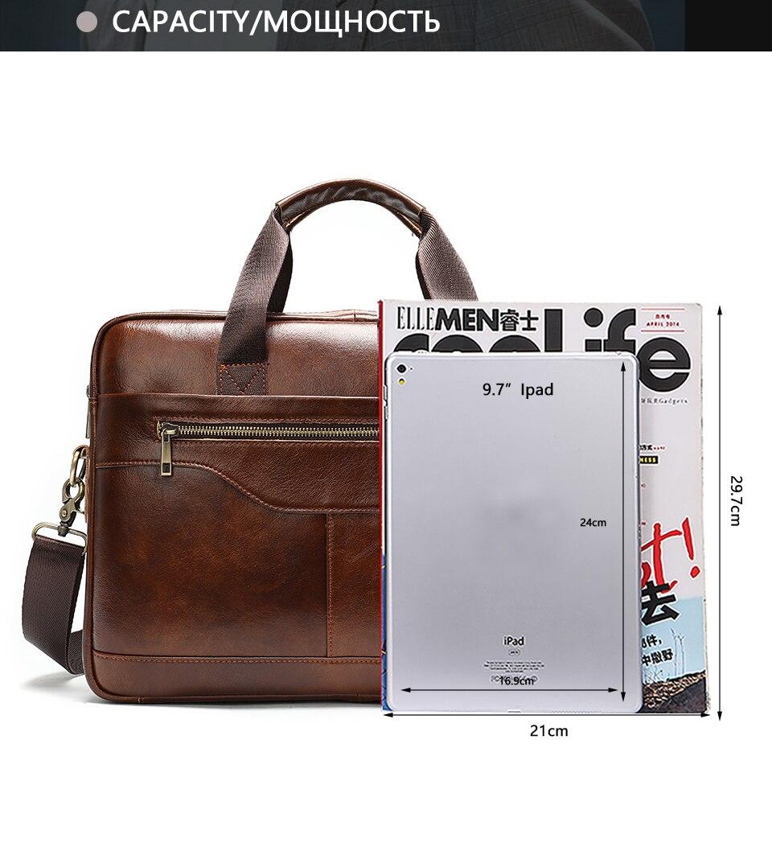17 Bag Men's Genuine Leather Briefcase Male Handbags Lawyer Man Laptop Bag Leather for Men Messenger Bags Men's Briefcases