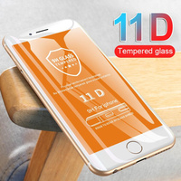 Película protetora com curvatura 11d, protetor de tela de vidro para iphone 7 8 6 6s plus e iphone 11 pro x xr xs max se 2020