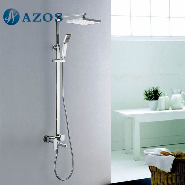 Wall Mount Tube And Shower Faucet With Rainfall Shower Head And Slide Bar  Chrome Color LYTZ060