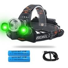 20W LED Head Lamp with White Green LED lights, 3 Lighting Modes, USB Rechargeable, Waterproof Fishing Lights for Hiking,Camping