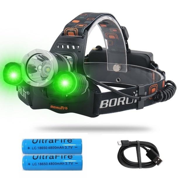 Linterna LED para cabeza de 20W con luces LED verdes blancas, 3 modos de iluminación, recargable por USB, luces de pesca impermeables para senderismo, Camping