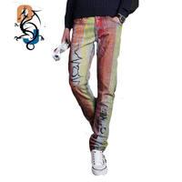 Mannen Casual Amerikaanse USA Vlag Gedrukt Jeans Broek Mens Graffiti Print Stretch Jean Skinny Slim Fit Broek MB591