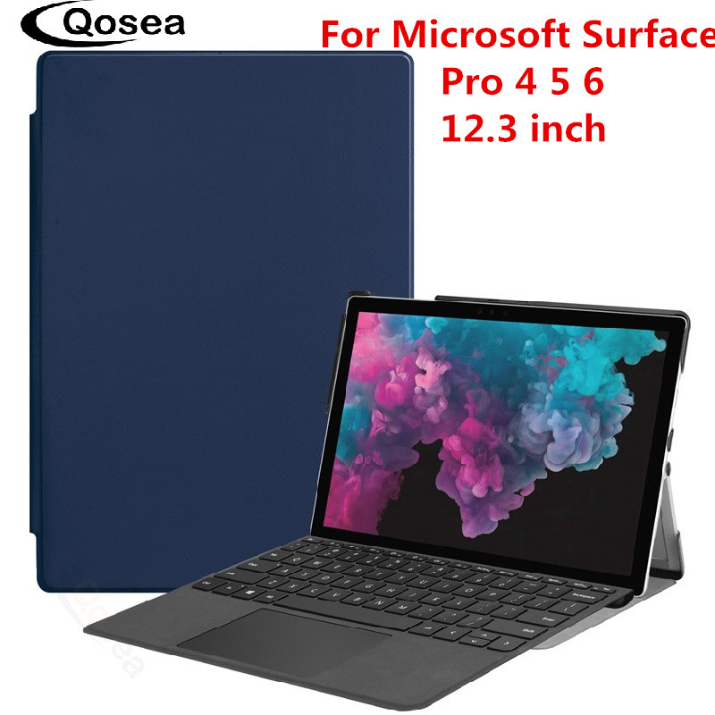 Qosea Magnet PU Leather For Microsoft Surface Pro 6 12.3 inch Smart Stand Case Tablet PC For Surface Pro 4 5 6 Stand Back CoverQosea Magnet PU Leather For Microsoft Surface Pro 6 12.3 inch Smart Stand Case Tablet PC For Surface Pro 4 5 6 Stand Back Cover