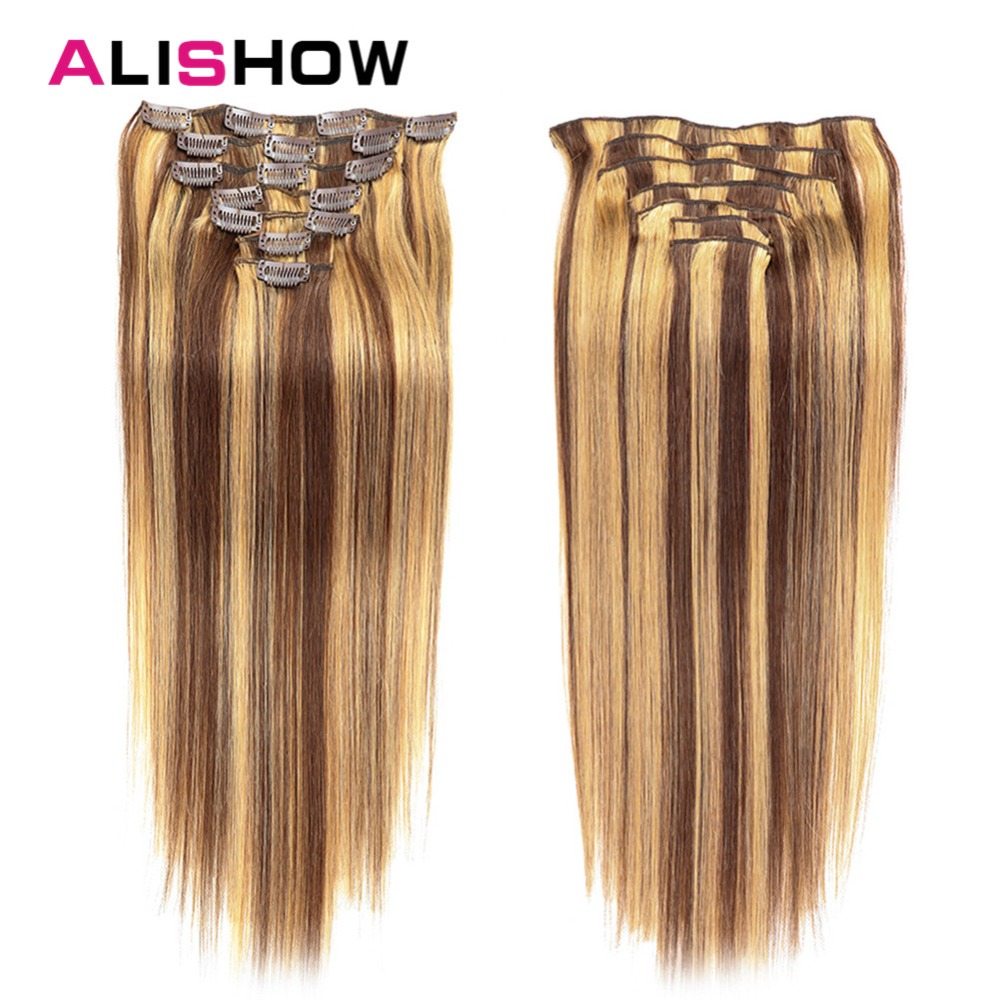 Alishow Human-Hair-Extensions Hair-Clip Remy Straight 100g 7pcs Machine-Made Full-Head-Set