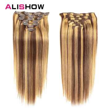 Alishow Clip In Human Hair Extensions Straight Full Head Set 7pcs 100g Machine Made Remy Hair Clip Ins 100% Human Hair Extension - DISCOUNT ITEM  35% OFF All Category