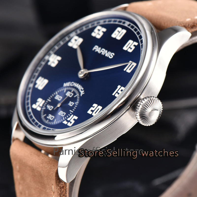 Parnis 44mm blue Dial st36 Mechanical Hand Winding Mens 6498 WatchParnis 44mm blue Dial st36 Mechanical Hand Winding Mens 6498 Watch
