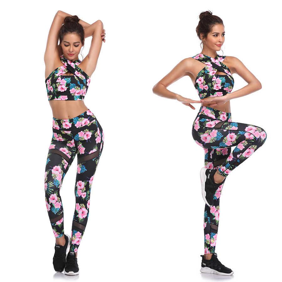 LI-FI Fitness joga zestaw kobiety Halter bez rękawów Mesh legginsy garnitury do jogi do biegania siłownia nosić mocno szczupła garnitur szkolenia