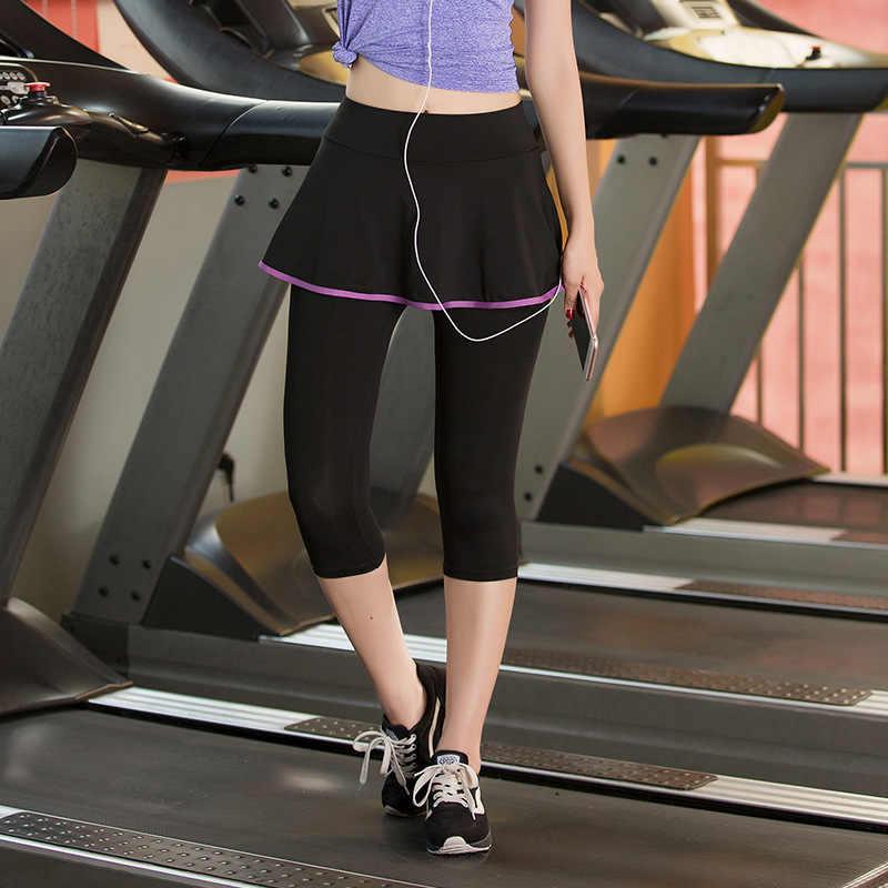 Kobiet tenis Skorts Sport siłownia fałszywe dwa kawałki kompresji spodnie do biegania szybkie suche spodnie do fitnessu spódnica Badminton tenis
