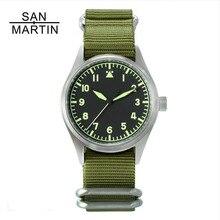San Martin модные женские мужские часы пилота нержавеющая сталь часы 200 м водонепроницаемые SEIKO наручные часы сапфировое стекло 39 мм