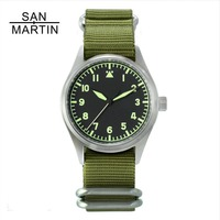 San Martin Fashion Women Men Pilot Watch Stainlss Steel Watch 200m Water Resistant SEIKO Movement Wristwatch Sapphire Glass 39mm