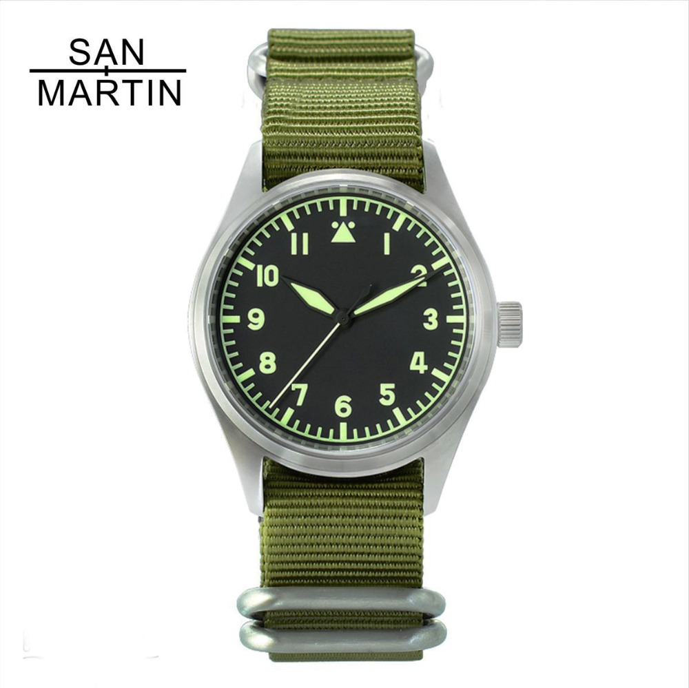 San Martin Mode Femmes Hommes Pilote Montre Stainlss Acier Montre 200 m résistant à l'eau SEIKO montre-bracelet Saphir Verre 39mm