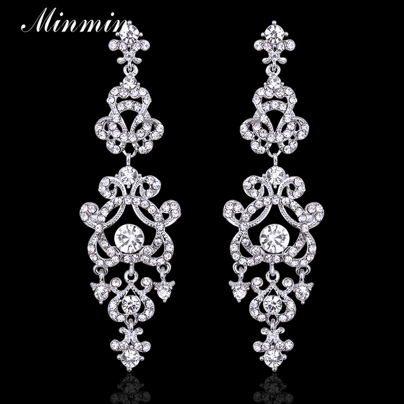 Minmin Clear / Gold-color Crystal Chandelier Long Earrings for Women Bridal Wedding Jewelry Pendantes Femmes EH283