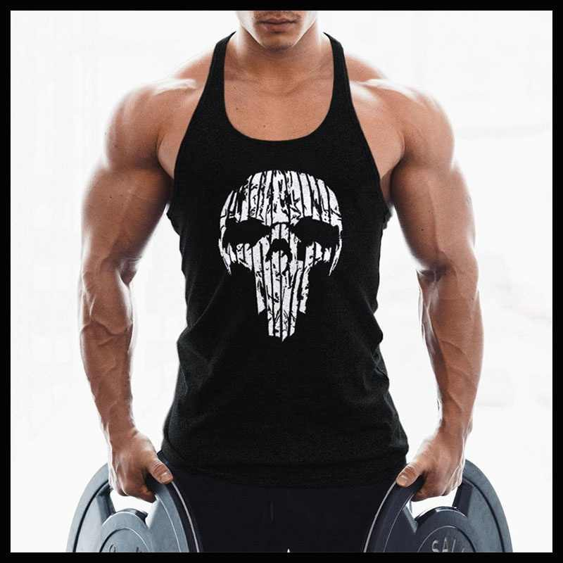 c970367b680d2 OA Men Skull Printing Muscle Fit Gyms Workout Tank Tops Bodybuilding Y Back  Sport Sleeveless Vest