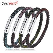 LOULEUR 2018 New 100% Genuine Leather Bracelet for Men Women Stainless Steel Clasp Bracelets Bangles Jewelry Pulsera