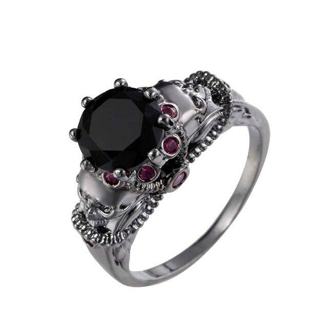 Skull Ring Black Zircon Women s Wedding Ring Punk Jewelry Vintage  Multicolor Cubic Zircon Black Ring Anillos Anel Party Custom 4e7b985b21
