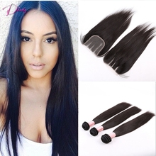 Straight Brazilian Virgin Hair with Closure 7a Hair Extensions Unprocessed Brazilian Virgin Hair 3 Part Closure with Bundles