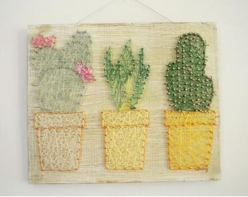 Cactus String Art, Cactus Wall Decor, Cactus Sign, Nail Art, Cactus Gift, Made to Order фото