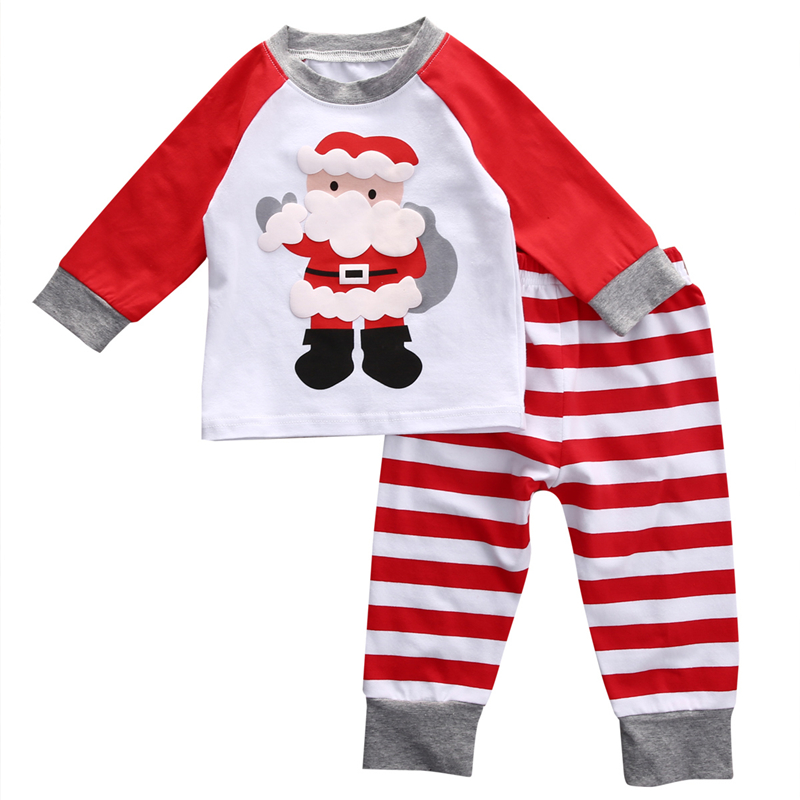 Xmas Baby Girls Boy Christmas PJS Set Fall Kids Long Sleeve Cartoon Tops+Stripe Pants 2017 New Arrival Bebes Hot Kid Pajamas Set baby fox print clothes set newborn baby boy girl long sleeve t shirt tops pants 2017 new hot fall bebes outfit kids clothing set