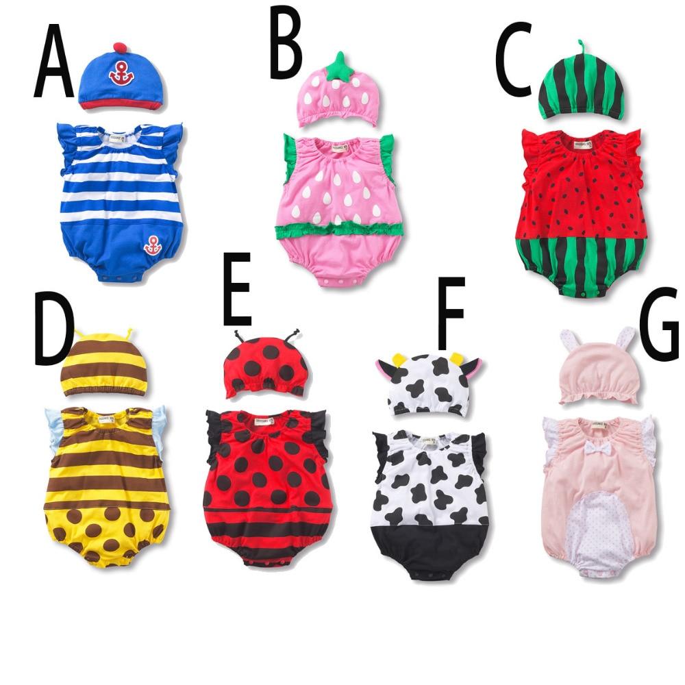 Watermelon baby bodysuit+hat Baby Boy Girl Summer Strawberry fruit animal Cotton Jumpsuit Infant Toddler ladybug sharp Costumes