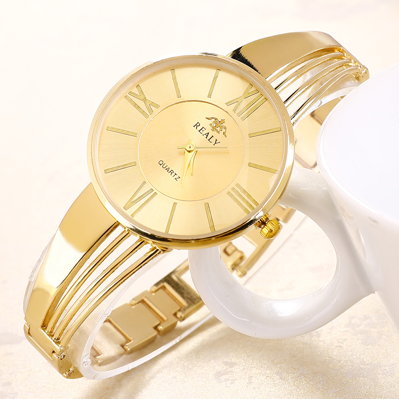 Chain Jewelry Women Watches Luxury Bracelet Round Dial Lady Fashion Dress Rose Gold Charming Clock Quartz Relogio Feminino in Women 39 s Watches from Watches