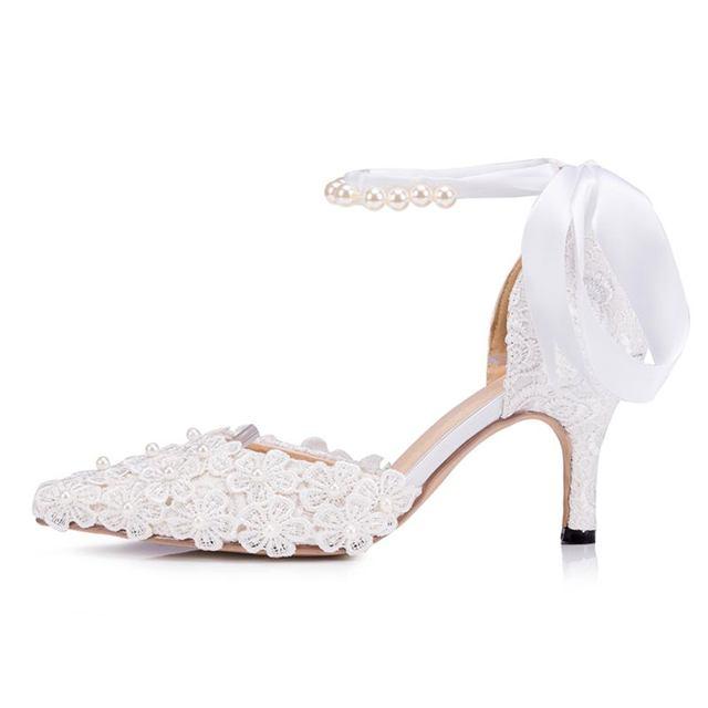 Blanco/Marfil Encaje de Perlas Cadena Vervel Boda Señalaron Los Zapatos de Encaje Perlas Nupcial Bombas Tamaño EU34-41 J1516