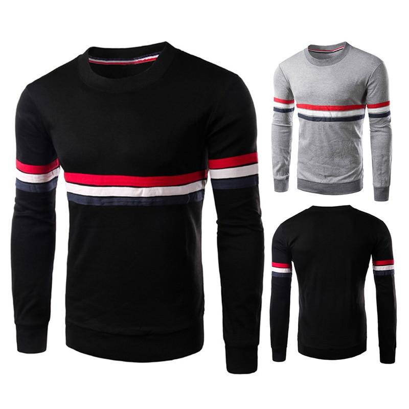 New Fashion Plus Size Casual Slim fit Solid color Striped O-Neck <font><b>Rib</b></font> Cuff <font><b>Long-sleeved</b></font> men's <font><b>T-shirt</b></font> LB