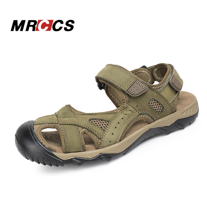 MRCCS Big Size 39-48 Genuine Leather Mens Summer Sandals,Rome Style Comfortable Casual Shoes,Hook & Loop & Toe Protect Design