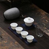 TANGPIN white ceramic teapot gaiwan porcelain teacups a tea sets portable travel tea set drinkware