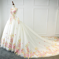 New O Neck Long Sleeve lace up 2018 Embroidery Flowers Wedding Dresses with lace big train for brides formal plus sizeS