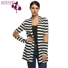 ACEVOG Women Cardigan Tops Autumn Striped Ladies Front Open Long Sleeve Patchwork Loose Casual Outwear Cotton Jacket Coat