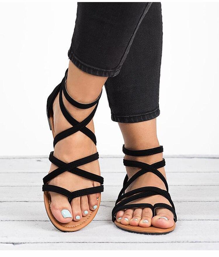 HTB1ef.uK6DpK1RjSZFrq6y78VXat Women Sandals Fashion Gladiator Sandals For Women Summer Shoes Female Flat Sandals Rome Style Cross Tied Sandals Shoes Women 43