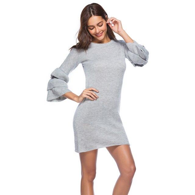 8c81b7c5ea STYLE Round Collar Half Sleeves Women Knitted Dress Fluffy Flounce Sleeve  Casual Slim Mini Sweater Dress Autumn Winter Warm