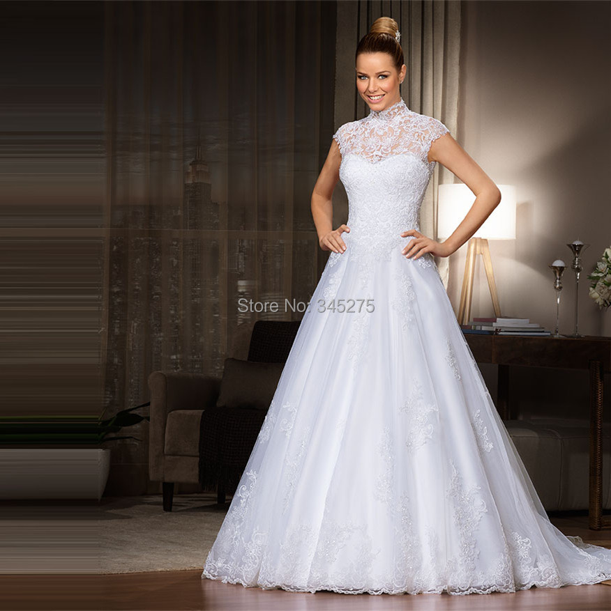 Brazil illusion high neckline princess sweetheart lace wedding dress ...