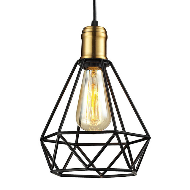 Wrought iron chandeliers pendant lamps ikea living room lampada industrial classic home metal cage led lighting