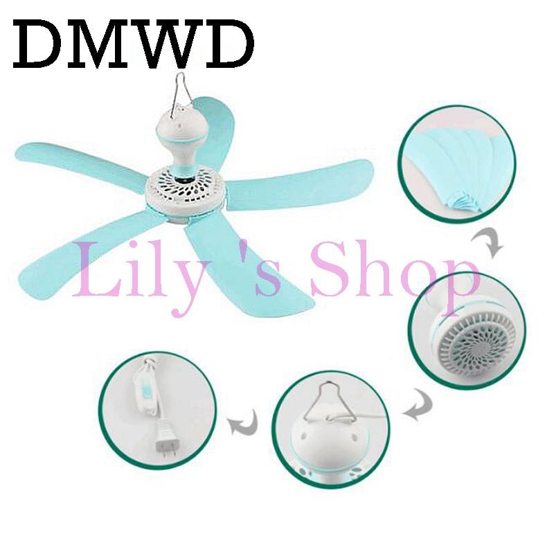 DMWD Electric mute cool fan <font><b>Ceiling</b></font> fan mini energy saving hanging fan Soft Wind expelling mosquito 1.3m 3m 5m cable cord EU US