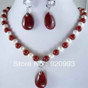 P&P*******White Pearl & Red Jade Necklace Earring Set