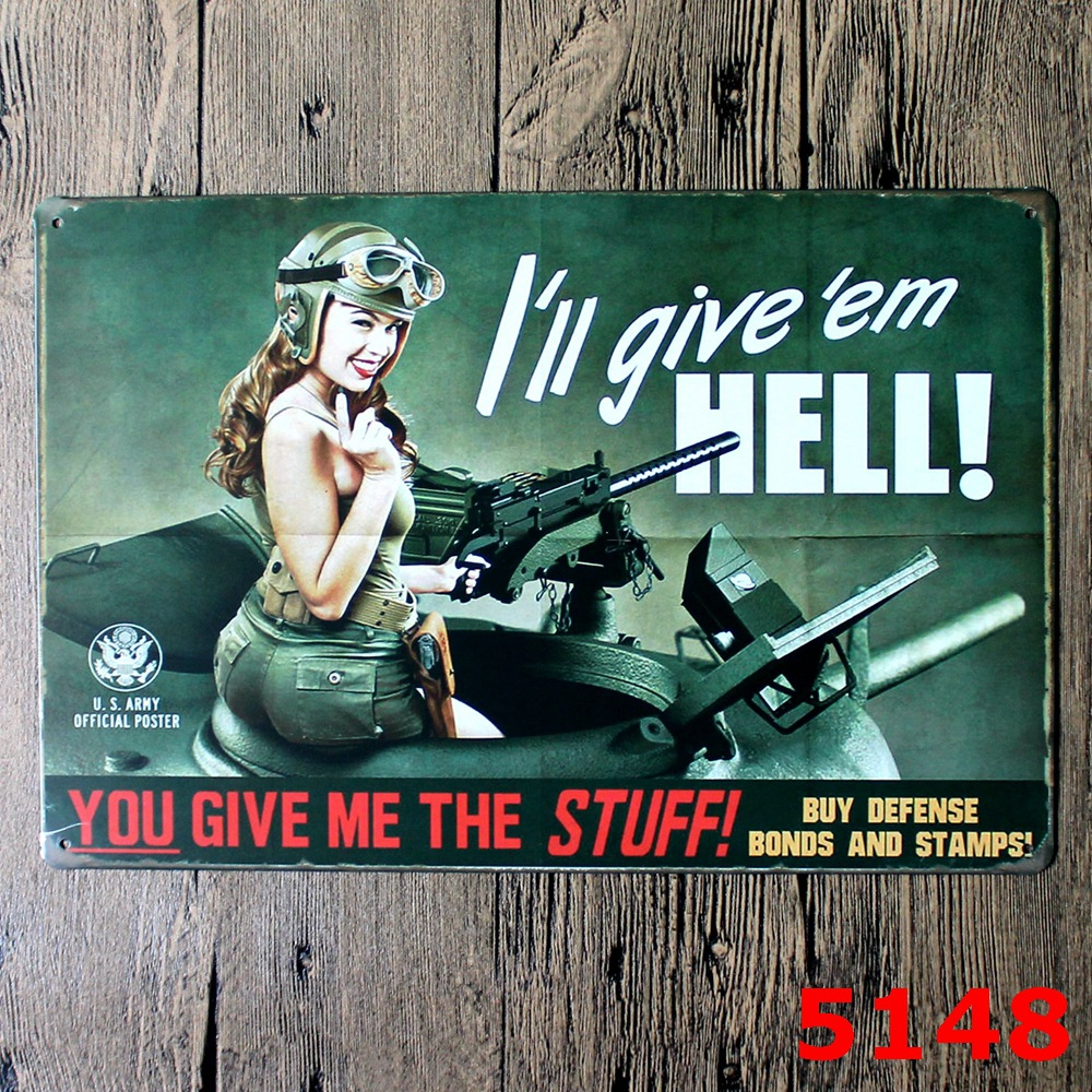 Wwii Aircraft Vintage Home Decor Tin Sign Wall Decor Metal