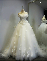 High Quality Princess Bridal Gowns With Tulle Cap Sleeves 3D Flora Flowers Lace Ball Gown Wedding