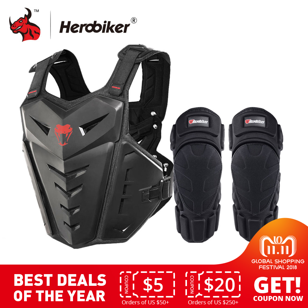 HEROBIKER Motorcycle Armor Vest Motorcycle Protection Motorcycle Riding Chest Armor Motocross Racing Vest & Motorcycle Knee Pads herobiker motorcycle armor chest back body armor vest motocross protective gears vest motorcycle jacket moto waistcoat l xl