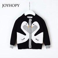 JOYHOPY Girls Jacket Fashion Swan Knitting Baby Girl Coat 2018 Autumn Spring Kids Long Sleeve Outerwear
