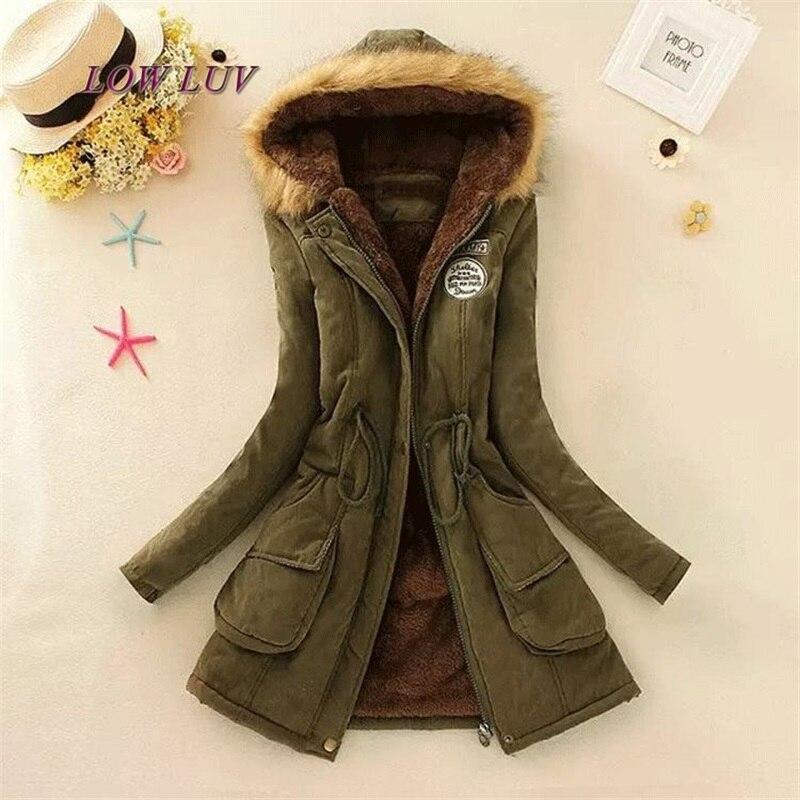 2017 Women Coat Fashion Autumn Winter Jacket Women Fur Collar Long Parka Plus Size Hoodies Casual Cotton Outwear
